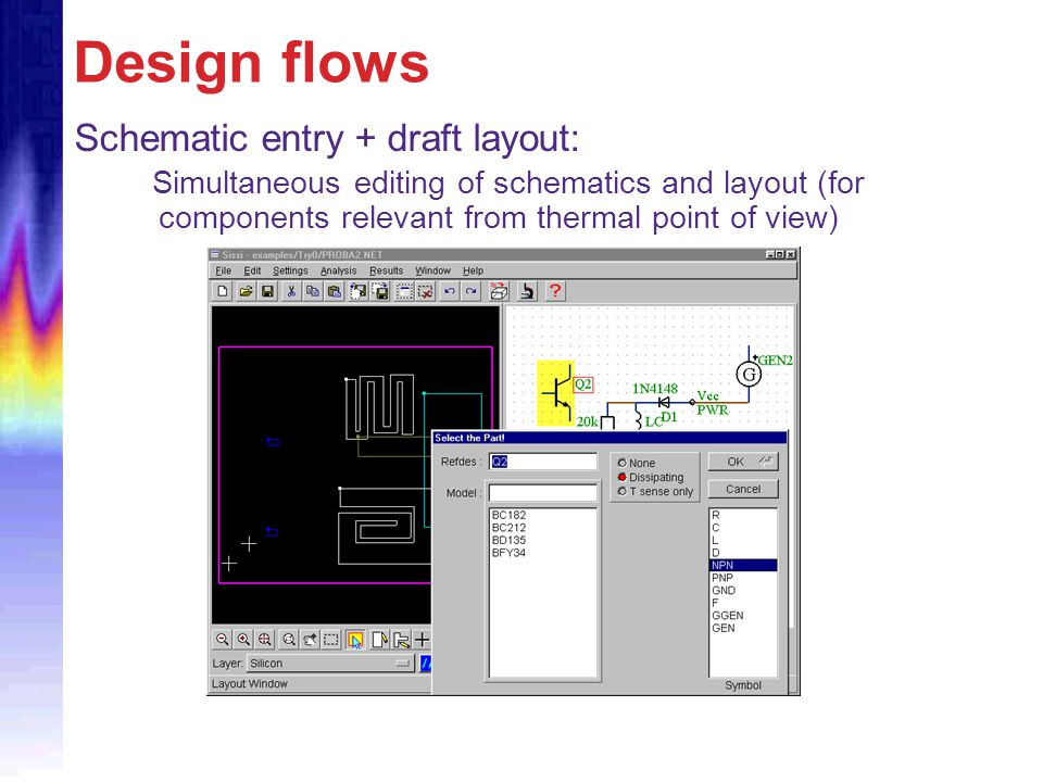 Design flows Schematic entry + draft layout: