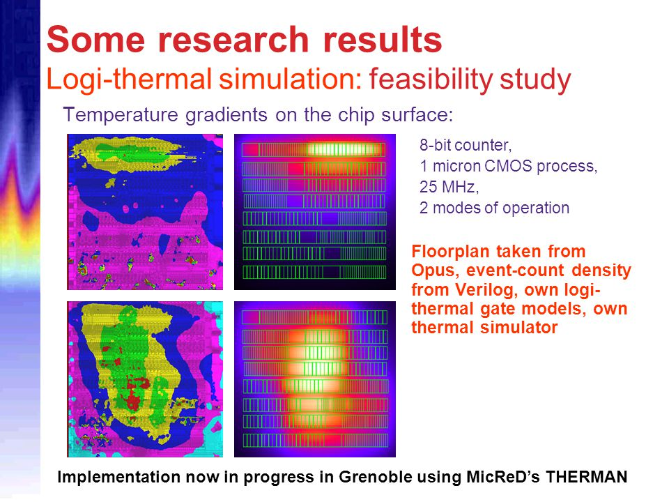 Some research results Logi-thermal simulation: feasibility study