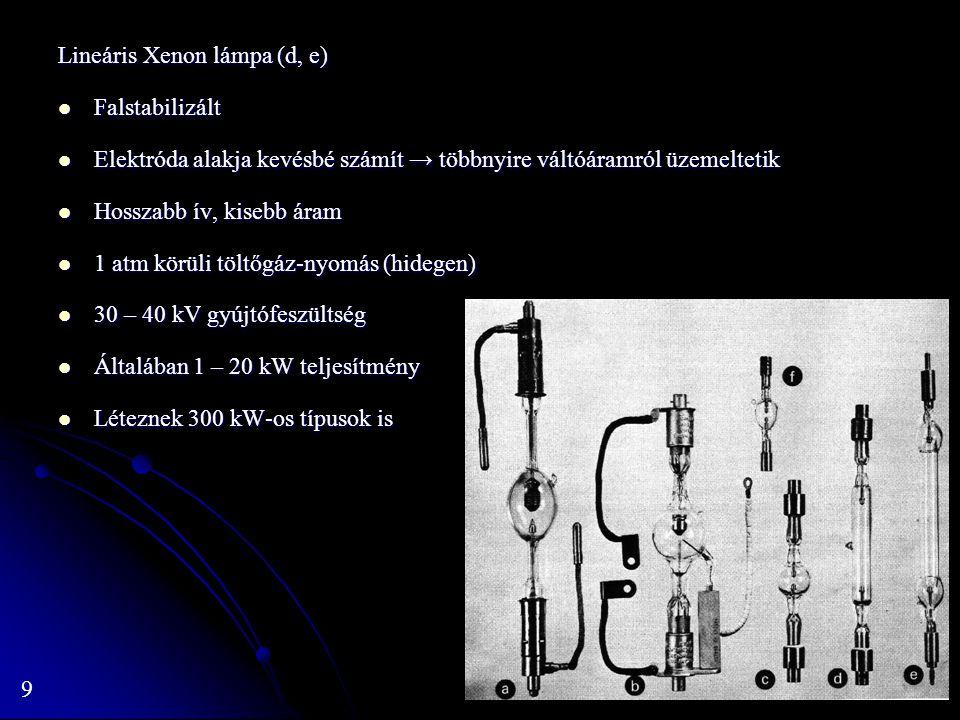 Lineáris Xenon lámpa (d, e)