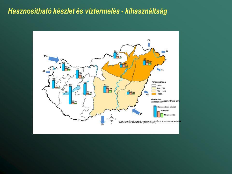 Hasznosítható készlet és víztermelés - kihasználtság