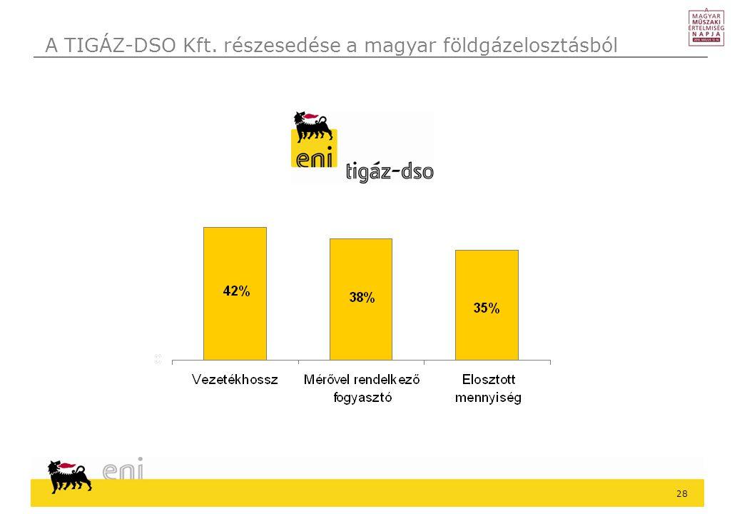 A TIGÁZ-DSO Kft. részesedése a magyar földgázelosztásból