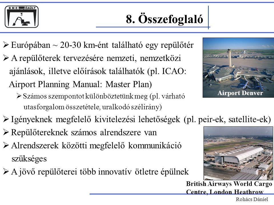 8. Összefoglaló Európában ~ 20-30 km-ént található egy repülőtér