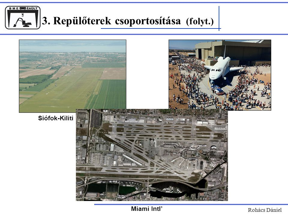 3. Repülőterek csoportosítása (folyt.)
