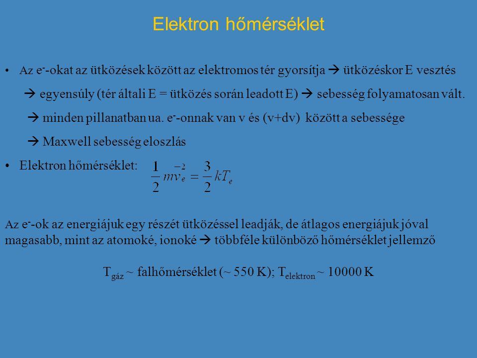 Tgáz ~ falhőmérséklet (~ 550 K); Telektron ~ 10000 K