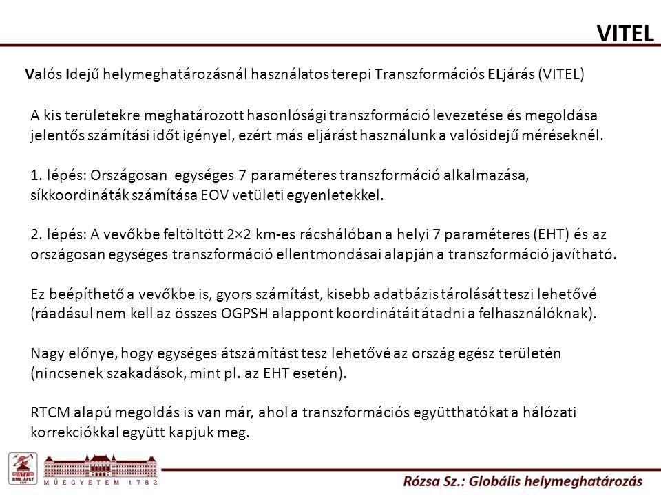 VITEL Valós Idejű helymeghatározásnál használatos terepi Transzformációs ELjárás (VITEL)