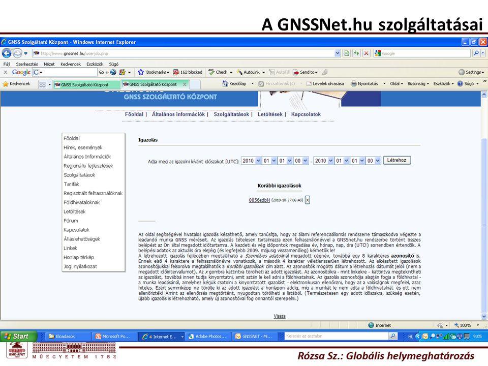A GNSSNet.hu szolgáltatásai