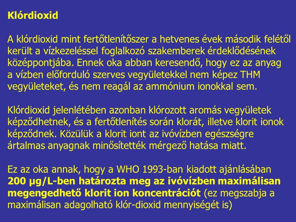 Klórdioxid A klórdioxid mint fertőtlenítőszer a hetvenes évek második felétől. került a vízkezeléssel foglalkozó szakemberek érdeklődésének.