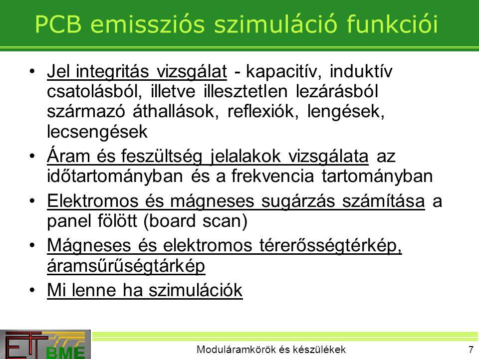 PCB emissziós szimuláció funkciói
