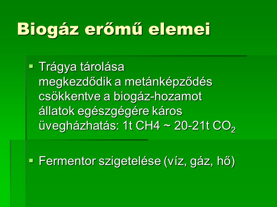 Biogáz erőmű elemei