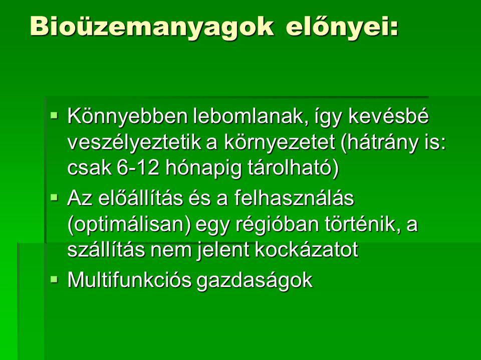 Bioüzemanyagok előnyei: