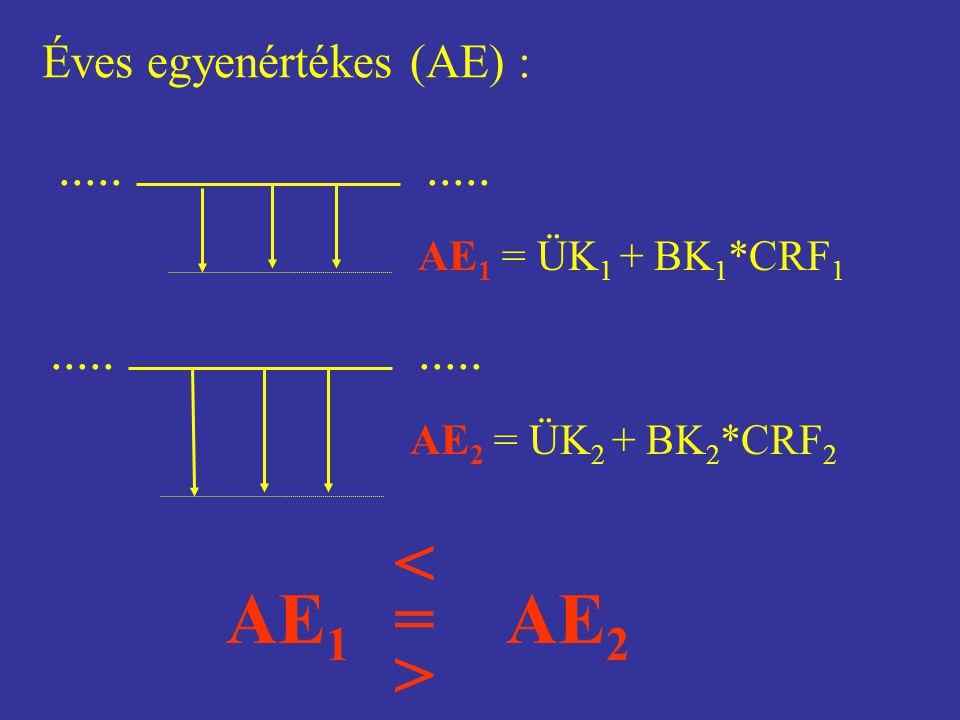 > < = AE1 AE2 ..... ..... Éves egyenértékes (AE) :