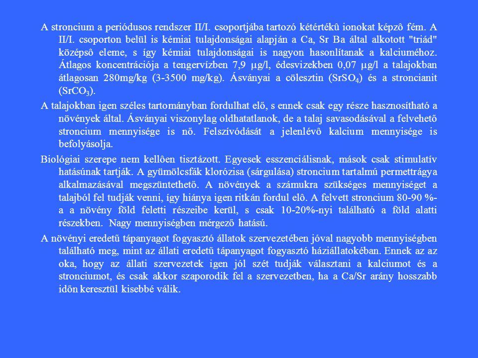 A stroncium a periódusos rendszer II/I