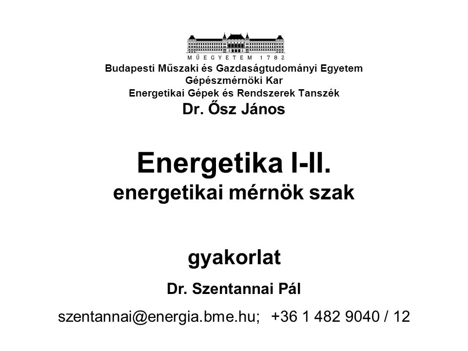 Energetika I-II. energetikai mérnök szak