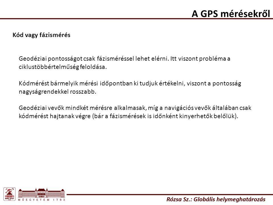 A GPS mérésekről Kód vagy fázismérés