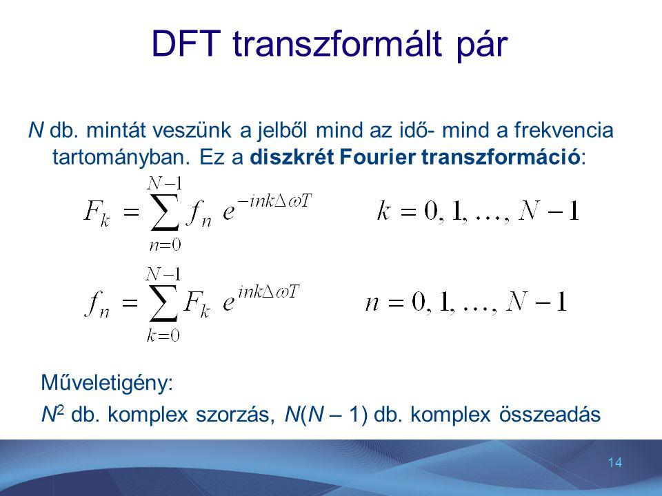 DFT transzformált pár N db. mintát veszünk a jelből mind az idő- mind a frekvencia tartományban. Ez a diszkrét Fourier transzformáció: