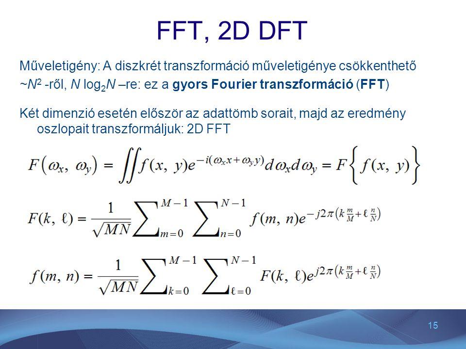 FFT, 2D DFT Műveletigény: A diszkrét transzformáció műveletigénye csökkenthető. ~N2 -ről, N log2N –re: ez a gyors Fourier transzformáció (FFT)