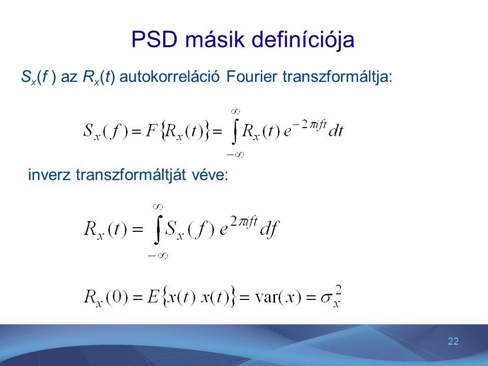 PSD másik definíciója Sx(f ) az Rx(t) autokorreláció Fourier transzformáltja: inverz transzformáltját véve: