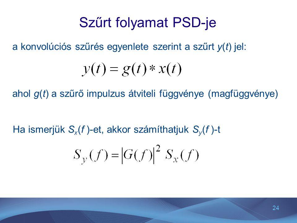 Szűrt folyamat PSD-je a konvolúciós szűrés egyenlete szerint a szűrt y(t) jel: ahol g(t) a szűrő impulzus átviteli függvénye (magfüggvénye)