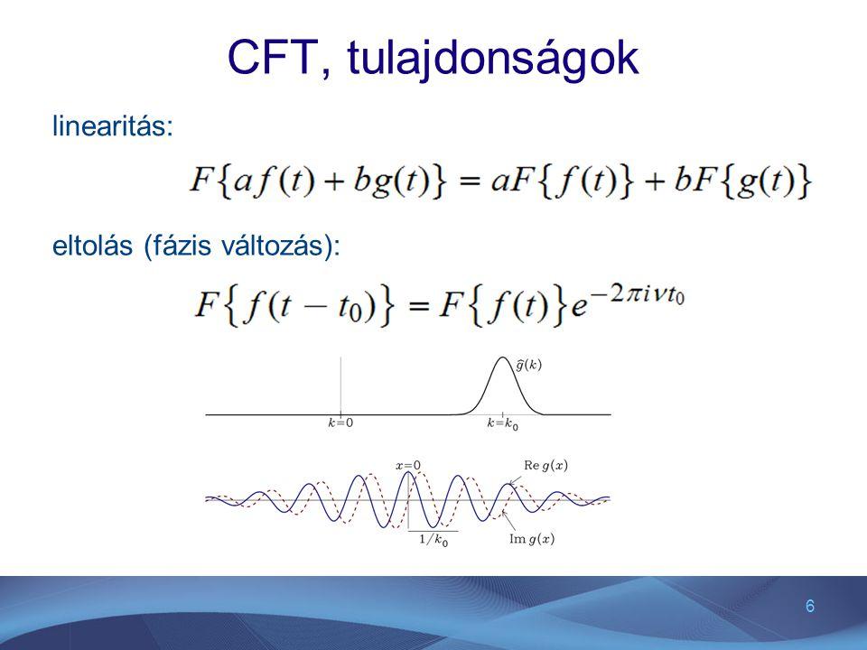 CFT, tulajdonságok linearitás: eltolás (fázis változás):