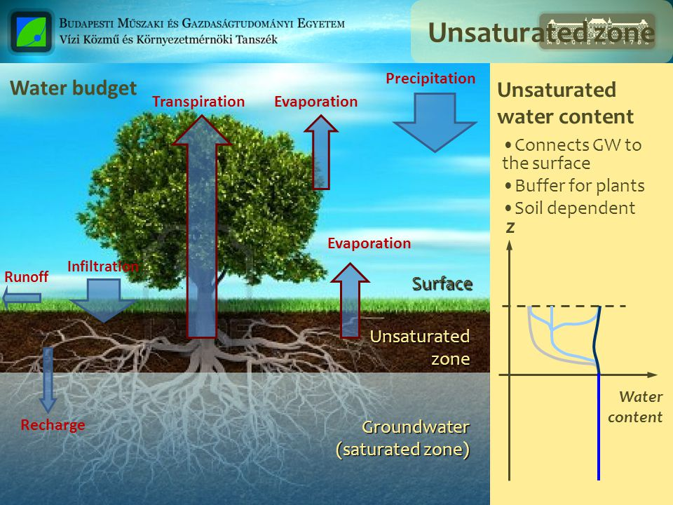 Unsaturated zone Water budget Unsaturated water content z