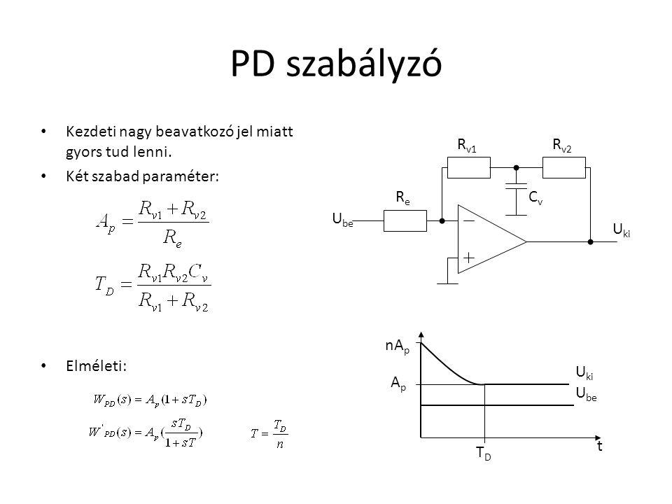 PD szabályzó Kezdeti nagy beavatkozó jel miatt gyors tud lenni.