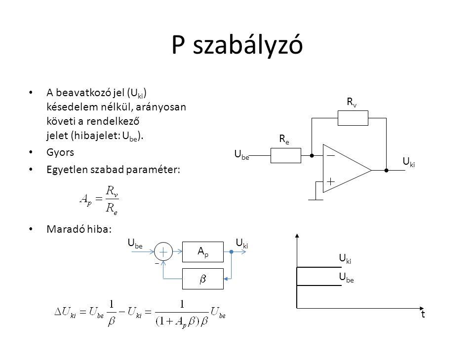 P szabályzó A beavatkozó jel (Uki) késedelem nélkül, arányosan követi a rendelkező jelet (hibajelet: Ube).