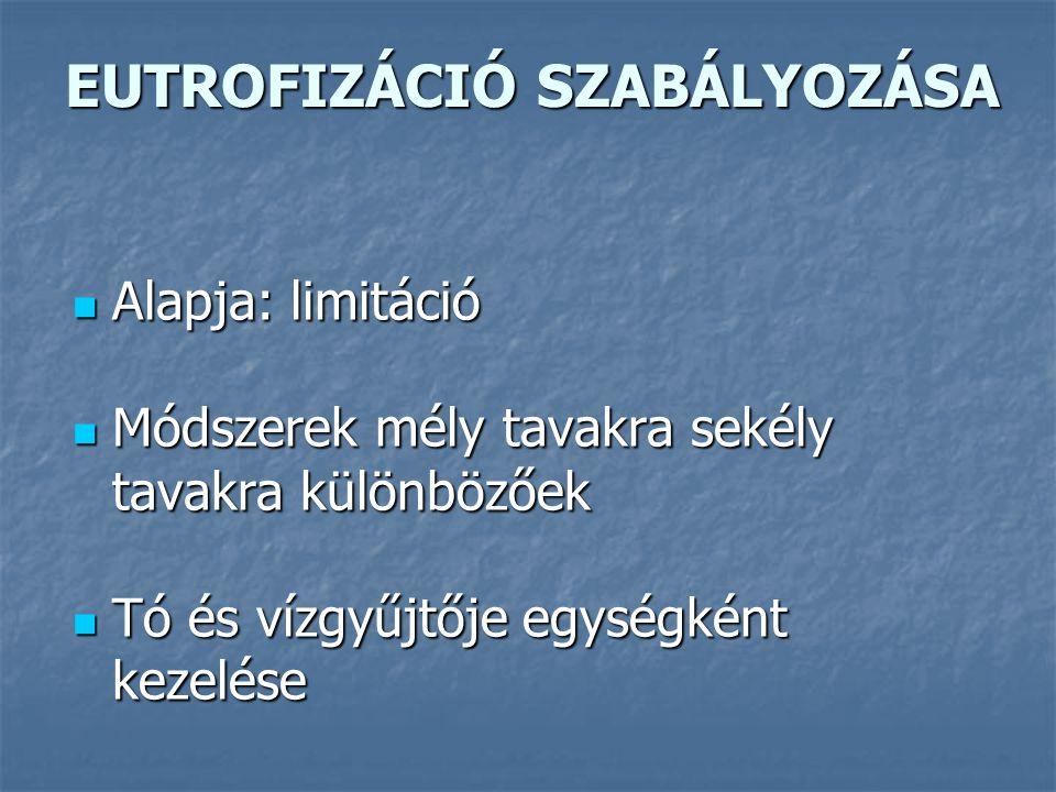 EUTROFIZÁCIÓ SZABÁLYOZÁSA