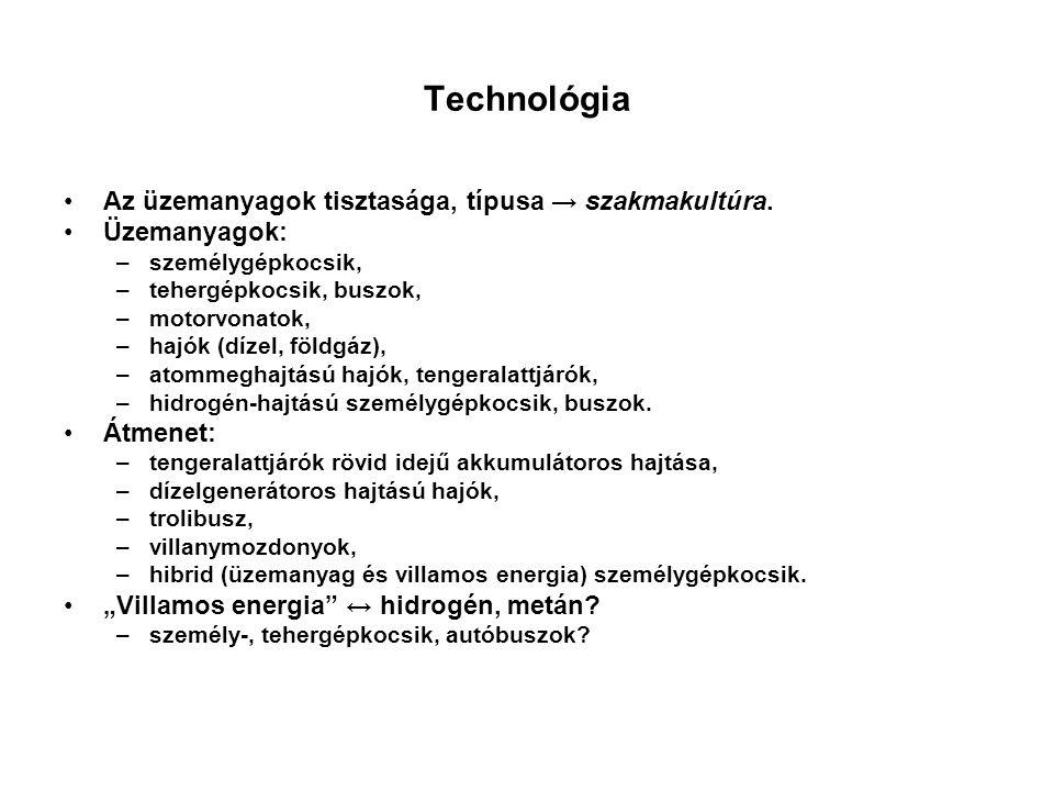 Technológia Az üzemanyagok tisztasága, típusa → szakmakultúra.