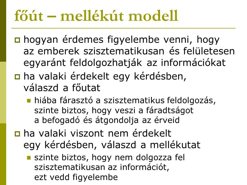 főút – mellékút modell hogyan érdemes figyelembe venni, hogy az emberek szisztematikusan és felületesen egyaránt feldolgozhatják az információkat.