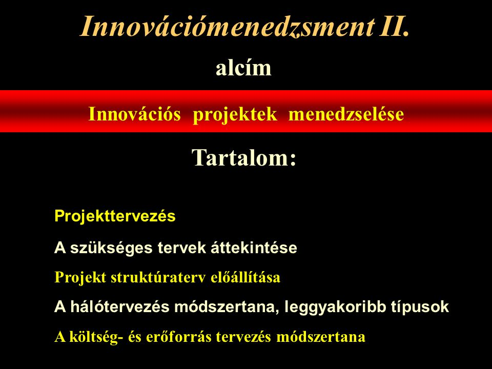 Innovációmenedzsment II.