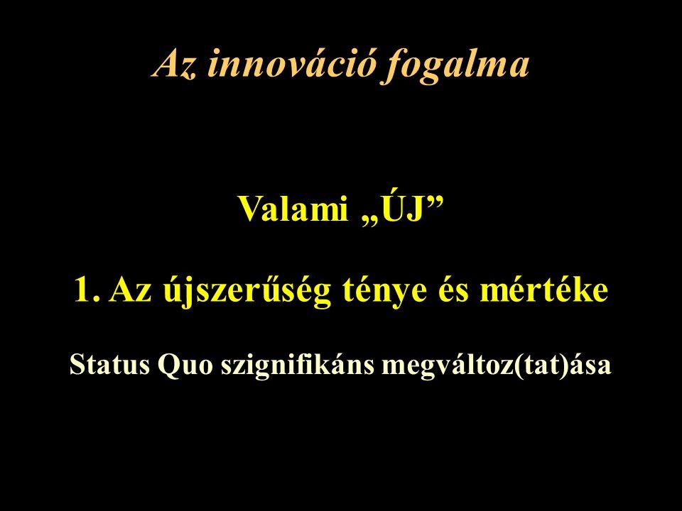 """Az innováció fogalma Valami """"ÚJ 1. Az újszerűség ténye és mértéke"""
