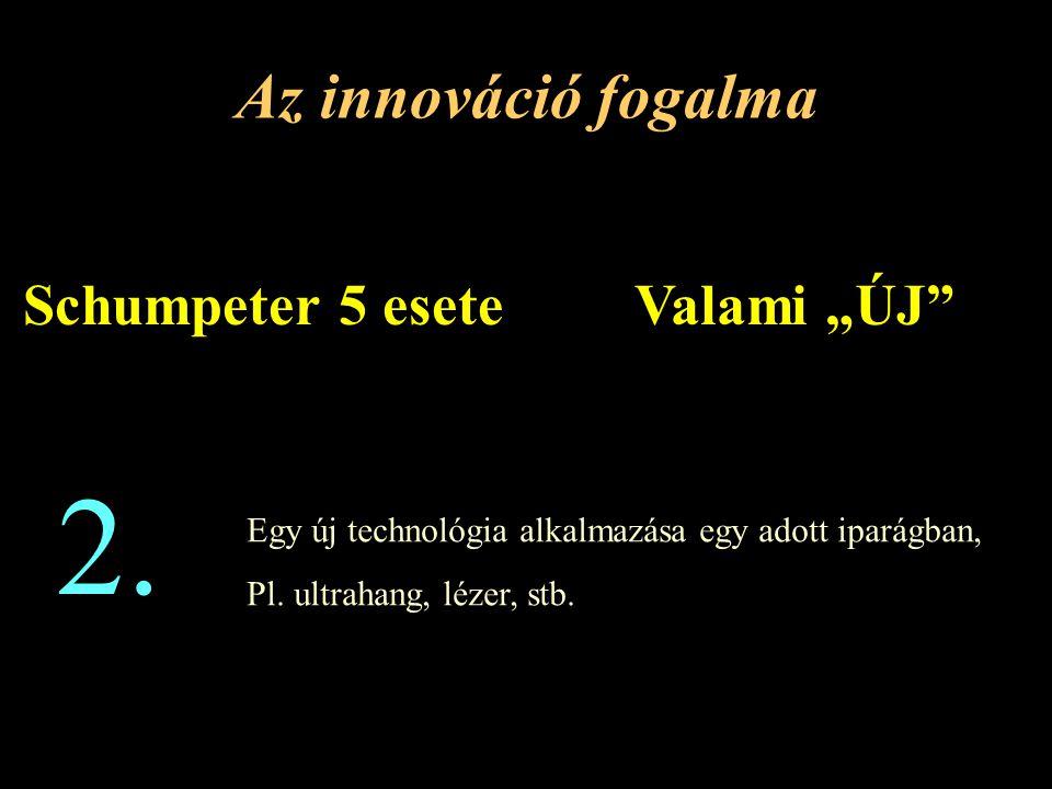 """2. Az innováció fogalma Schumpeter 5 esete Valami """"ÚJ"""