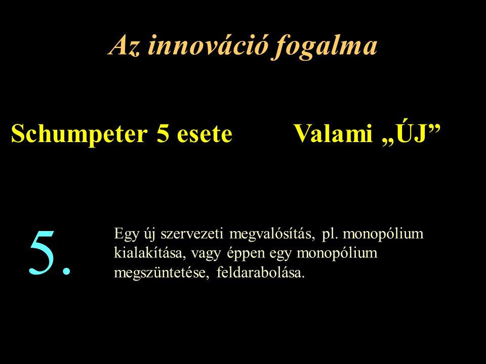 """5. Az innováció fogalma Schumpeter 5 esete Valami """"ÚJ"""