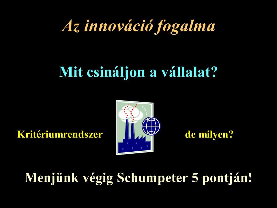 Mit csináljon a vállalat Menjünk végig Schumpeter 5 pontján!