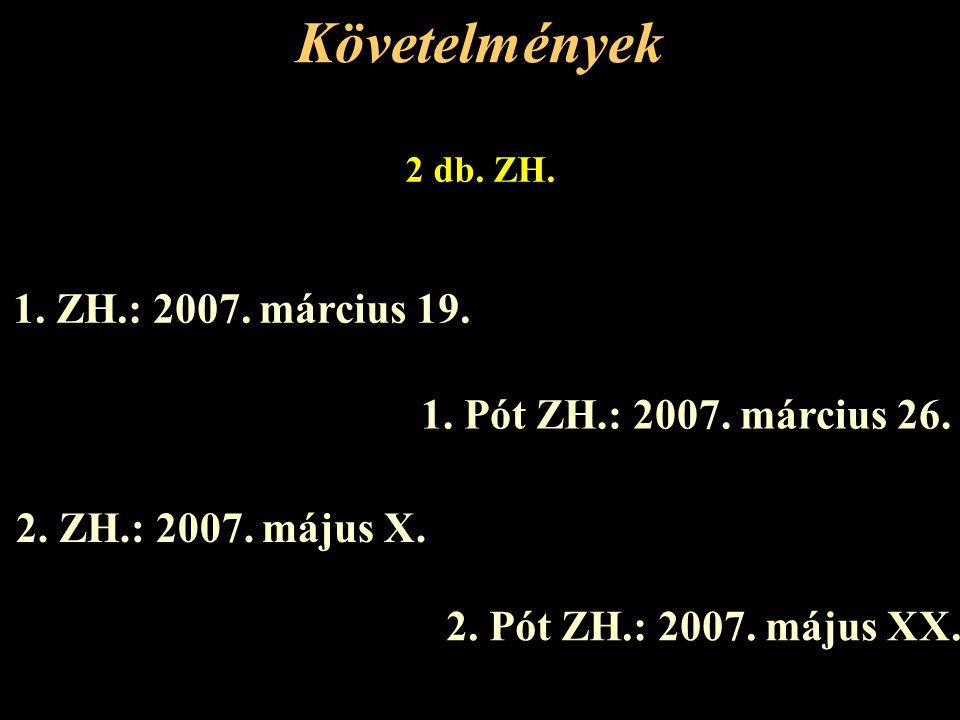 Követelmények 1. ZH.: 2007. március 19. 1. Pót ZH.: 2007. március 26.