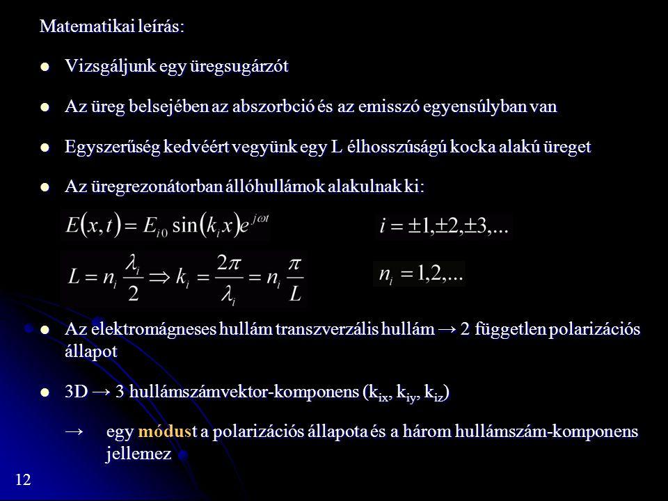 Matematikai leírás: Vizsgáljunk egy üregsugárzót. Az üreg belsejében az abszorbció és az emisszó egyensúlyban van.