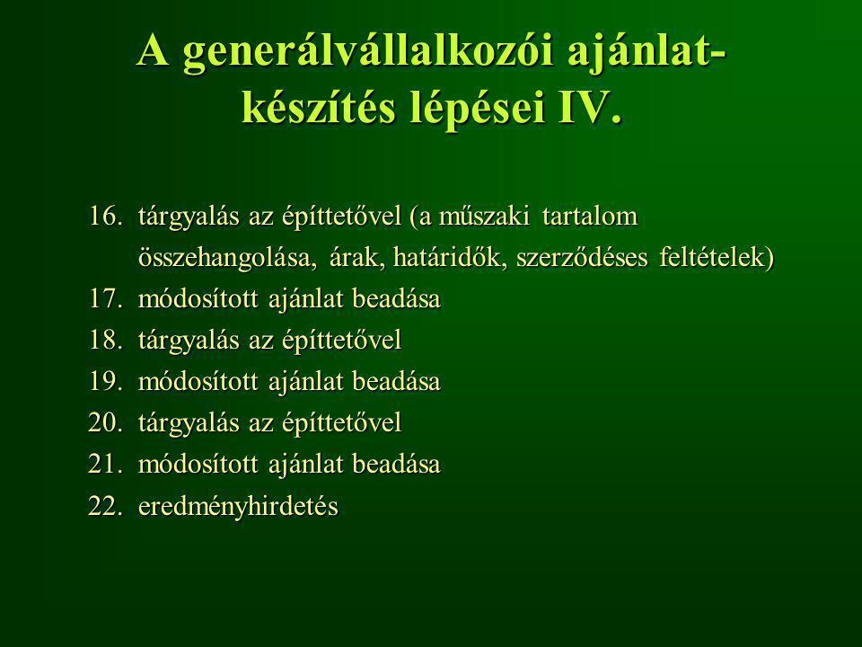 A generálvállalkozói ajánlat- készítés lépései IV.