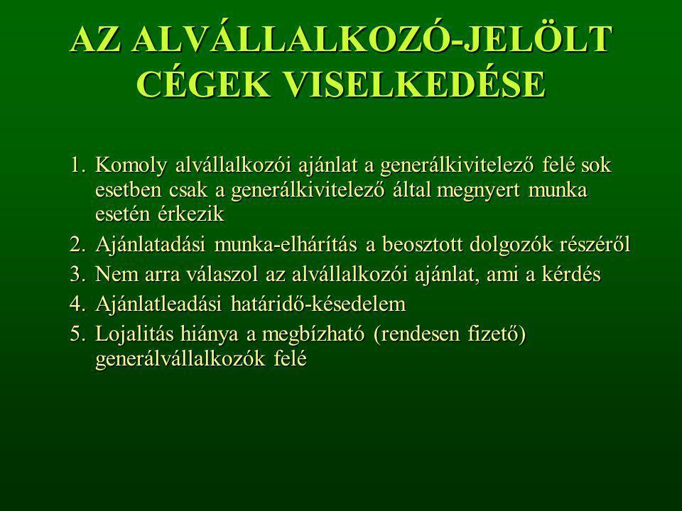 AZ ALVÁLLALKOZÓ-JELÖLT CÉGEK VISELKEDÉSE