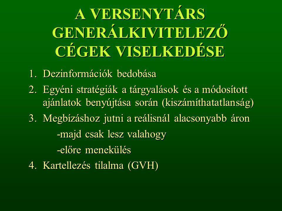 A VERSENYTÁRS GENERÁLKIVITELEZŐ CÉGEK VISELKEDÉSE
