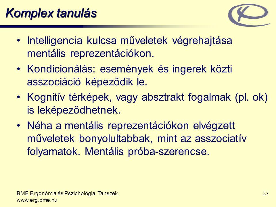 Komplex tanulás Intelligencia kulcsa műveletek végrehajtása mentális reprezentációkon.