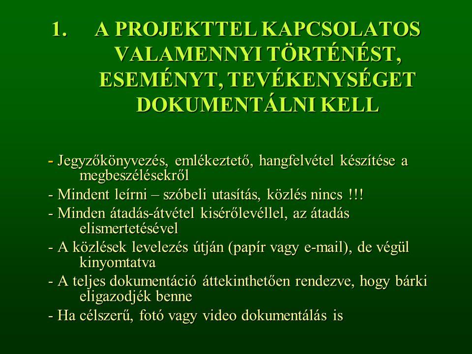 A PROJEKTTEL KAPCSOLATOS VALAMENNYI TÖRTÉNÉST, ESEMÉNYT, TEVÉKENYSÉGET DOKUMENTÁLNI KELL