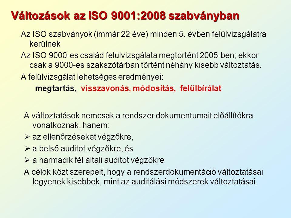 Változások az ISO 9001:2008 szabványban