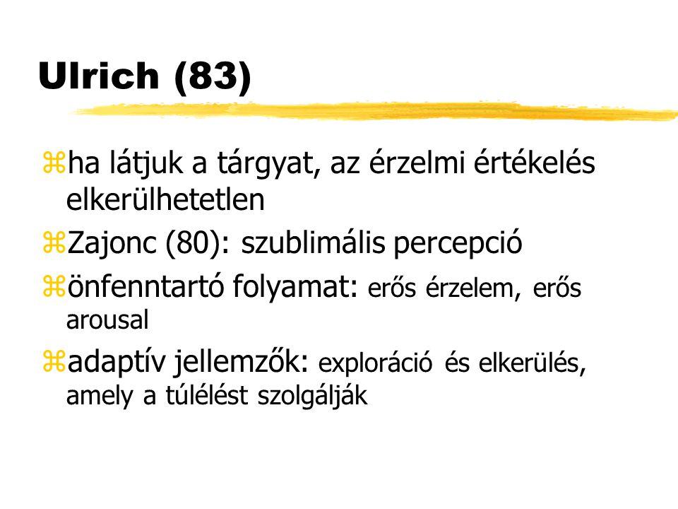 Ulrich (83) ha látjuk a tárgyat, az érzelmi értékelés elkerülhetetlen