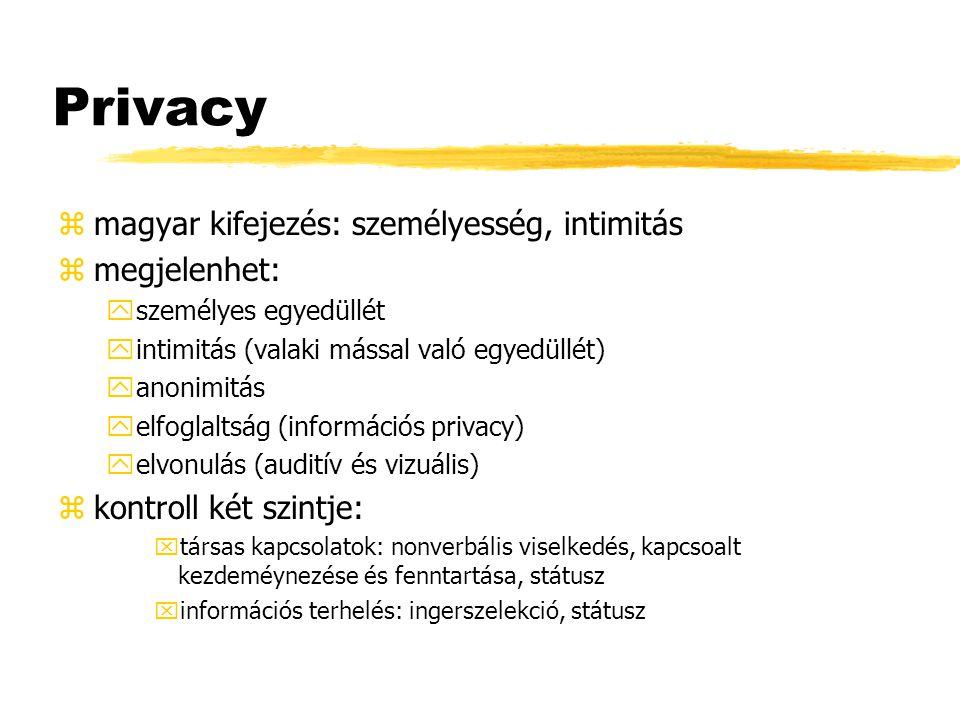 Privacy magyar kifejezés: személyesség, intimitás megjelenhet: