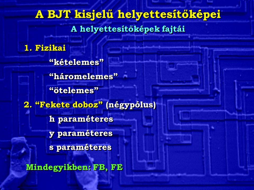 A BJT kisjelű helyettesítőképei A helyettesítőképek fajtái