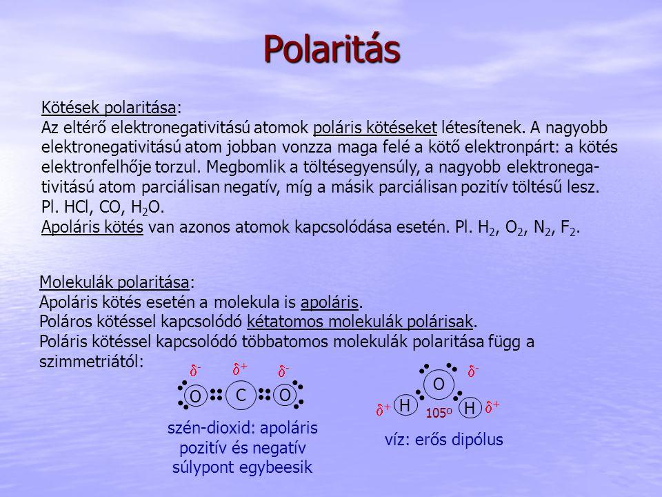 Polaritás Kötések polaritása: