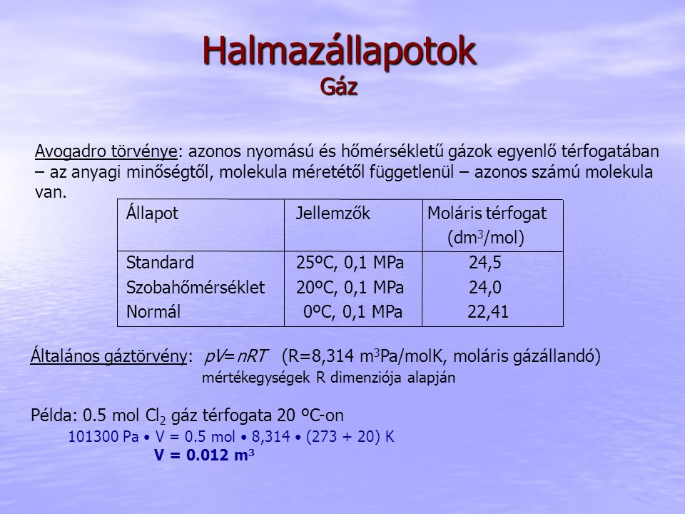 Halmazállapotok Gáz