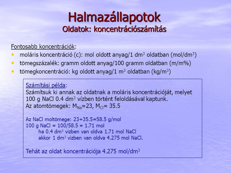 Halmazállapotok Oldatok: koncentrációszámítás