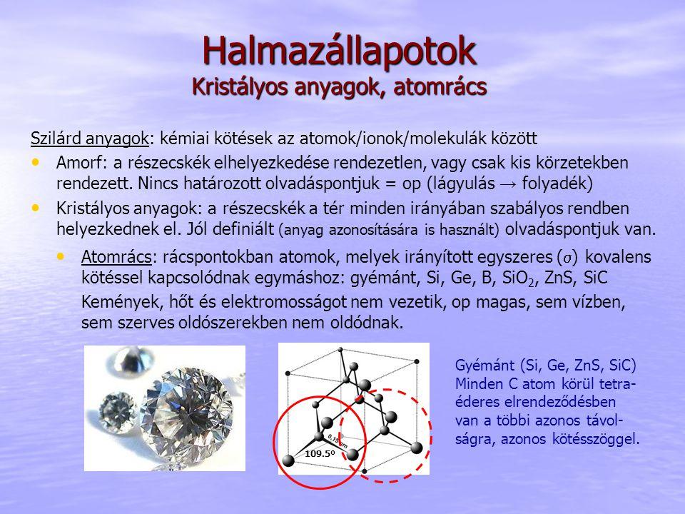 Halmazállapotok Kristályos anyagok, atomrács