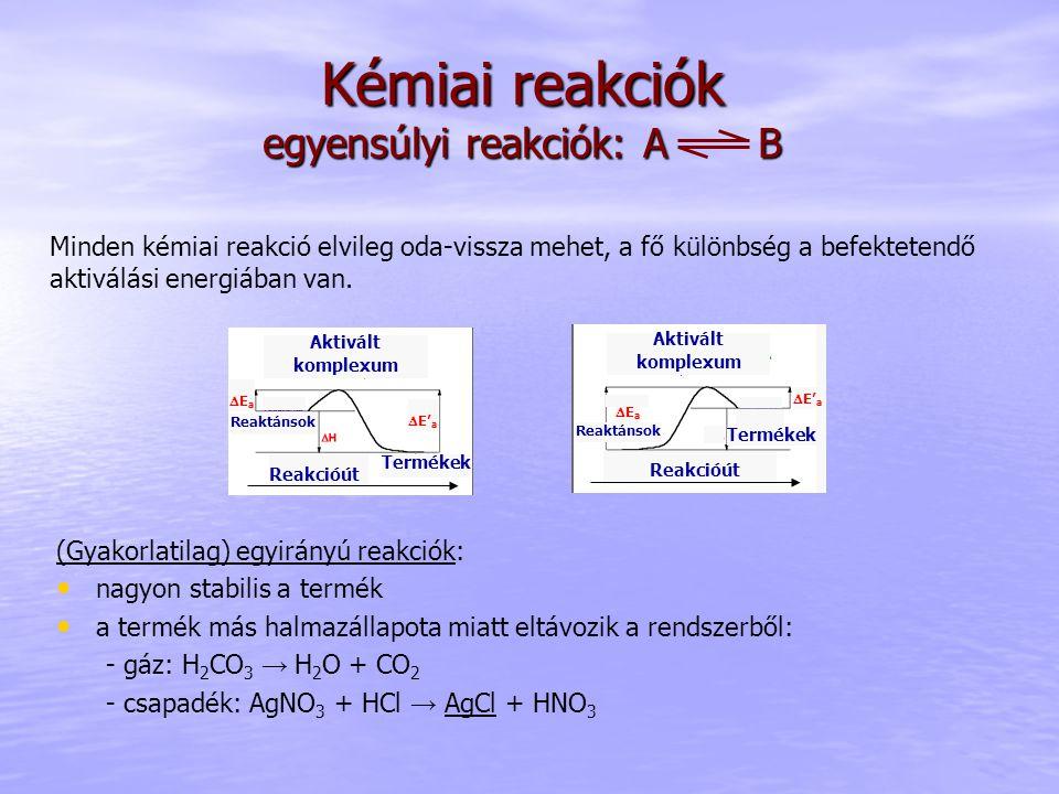Kémiai reakciók egyensúlyi reakciók: A B